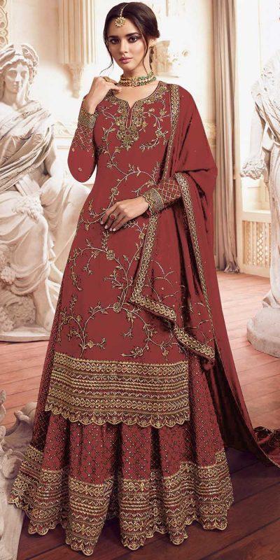 womens-look-stunning-with-designer-orange-color-bridal-sharara-suit