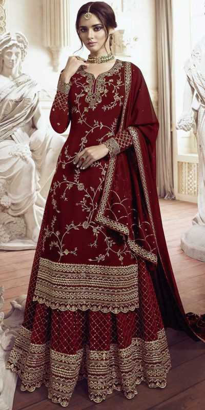 womens-look-stunning-with-designer-red-color-bridal-sharara-suit