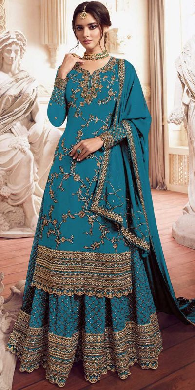 womens-look-stunning-with-designer-sky-blue-color-bridal-sharara-suit
