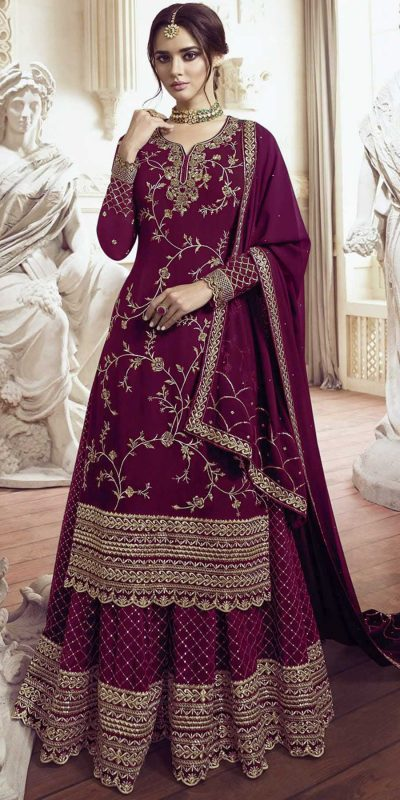 womens-look-stunning-with-designer-wine-color-bridal-sharara-suit