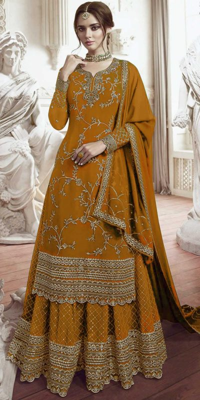 womens-look-stunning-with-designer-yellow-color-bridal-sharara-suit