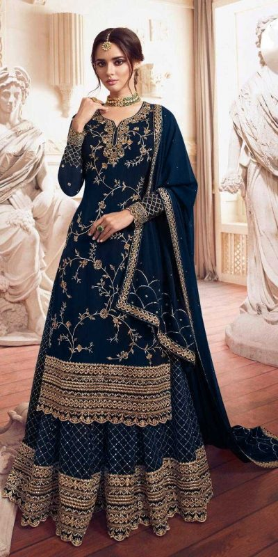 womens-look-stunning-with-peacock-blue-color-bridal-sharara-suit